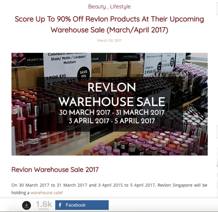 Zula.sg Revlon Warehouse Sale